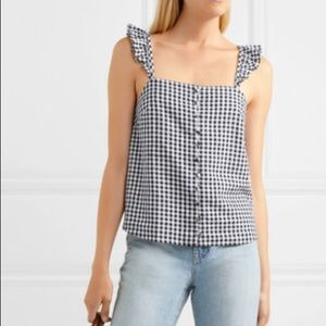 Madewell ruffled gingham linen blend camisole